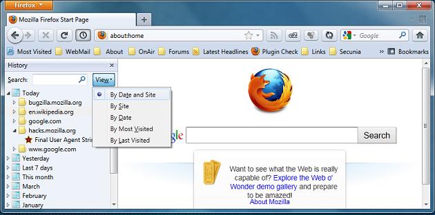 Firefox History Sidebar