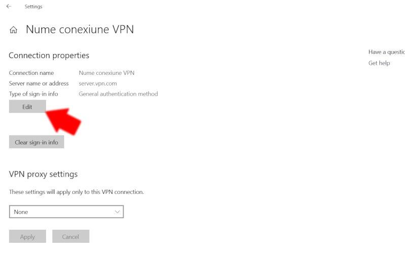 Windows 10: Editează o conexiune VPN