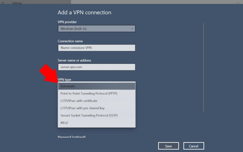 Windows 10: tipul conexiunii VPN