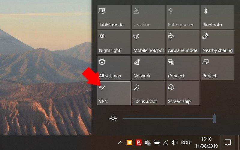 Windows 10: comanda rapida VPN